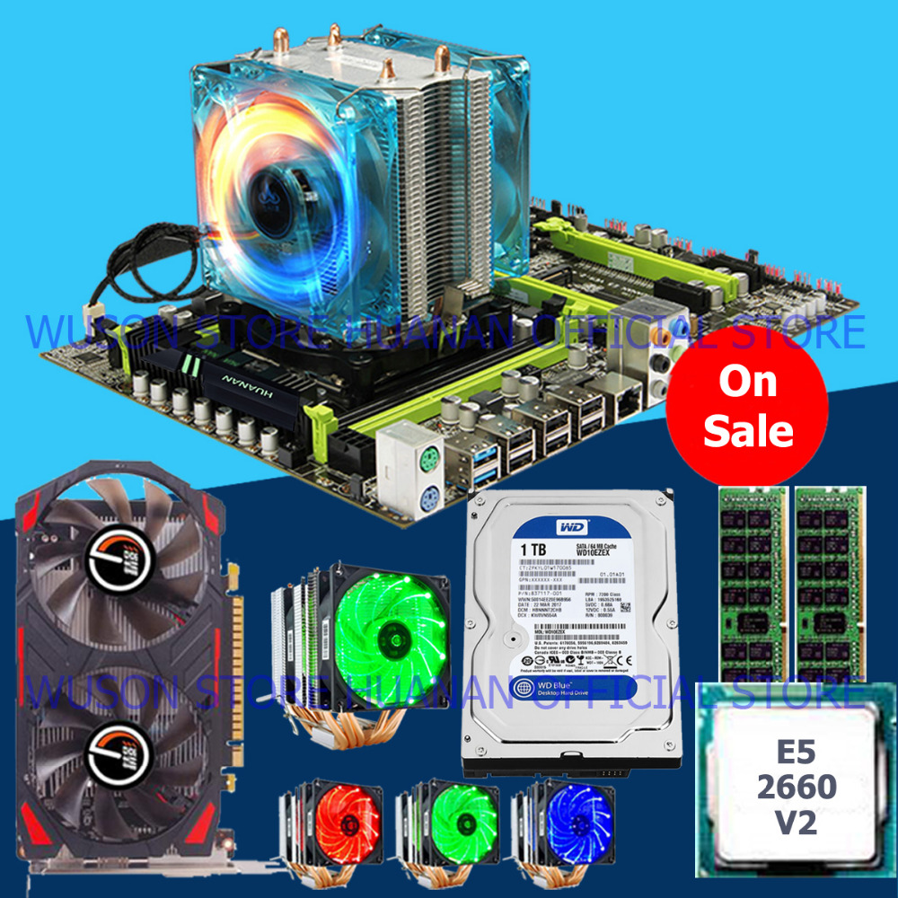 HUANAN ZHI X79 motherboard bundle CPU Intel <font><b>Xeon</b></font> E5 <font><b>2660</b></font> V2 6 heatpipes cooler video card GTX750Ti 2G RAM 16G(2*8G) 1TB SATA HDD image
