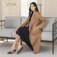 VOA Winter Warm Camel Baby Cashmere Coats Women Luxury Treasure Long Overcoat Cardigan Cappotto Outerwear High end Clothing S320