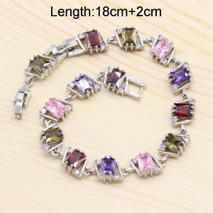 Image 3 - 925 conjuntos de jóias de noiva de prata para o casamento feminino multi cor zircão brincos pulseira colar pingente caixa presente