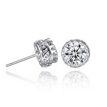 Zircon Crystal Earrings Channel Cubic Zirconia Silver Stud For Women Copper Color Jewelry