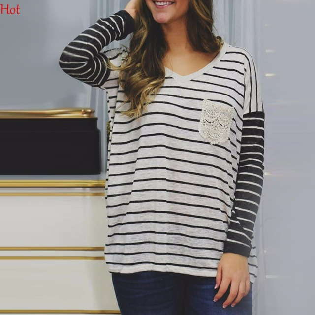 2ae9274ec369 Fashion Women Striped T-shirt Casual Loose Vneck Stripes Tees Ladies  Clothing Splicing Lace Pocket T-Shirt Black White SVH031671