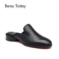 BeauToday Шлёпанцы Для женщин из натуральной кожи с открытым круглым Красной подошвой слипоны туфли лодочки туфли из телячьей кожи ручной работ