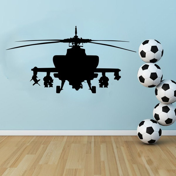 Large AH-64 Apache Army Helicopter vinyl decal poster wall Sticker for boy bedroom decor, free ship