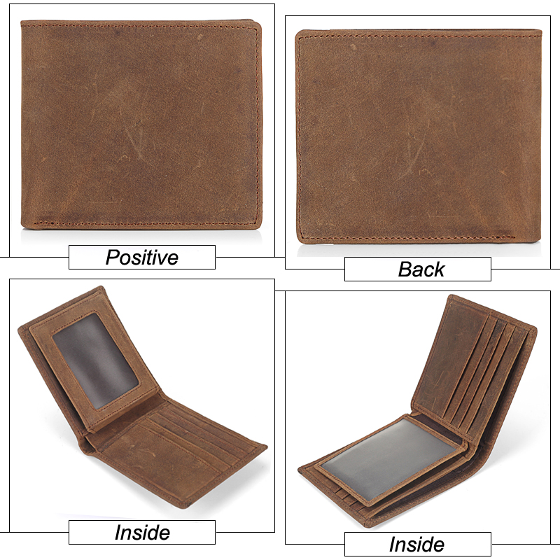 MISFITS NEW Vintage Cowhide Mens Wallet Genuine Crazy Horse Leather Man Purse Brand Male Credit&id Multifunctional Brown Wallets