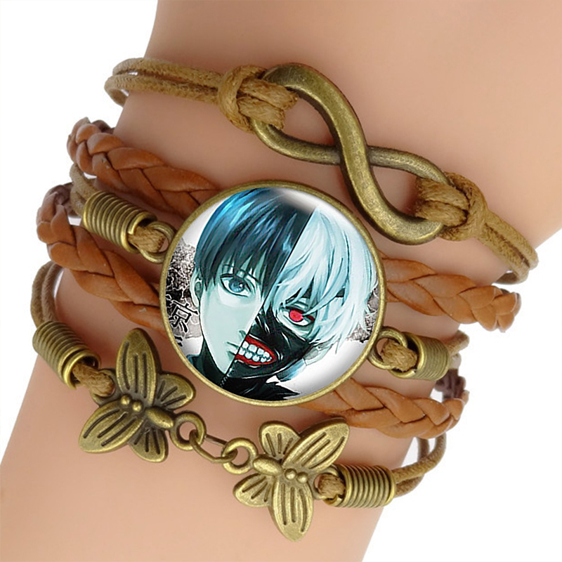 Tokyo Ghoul Bracelet Bangle Hot Anime Cosplay Brown Multi-layer Leather Bracelets Fashion Jewelry for Women Valentines Day Gifts bracelet