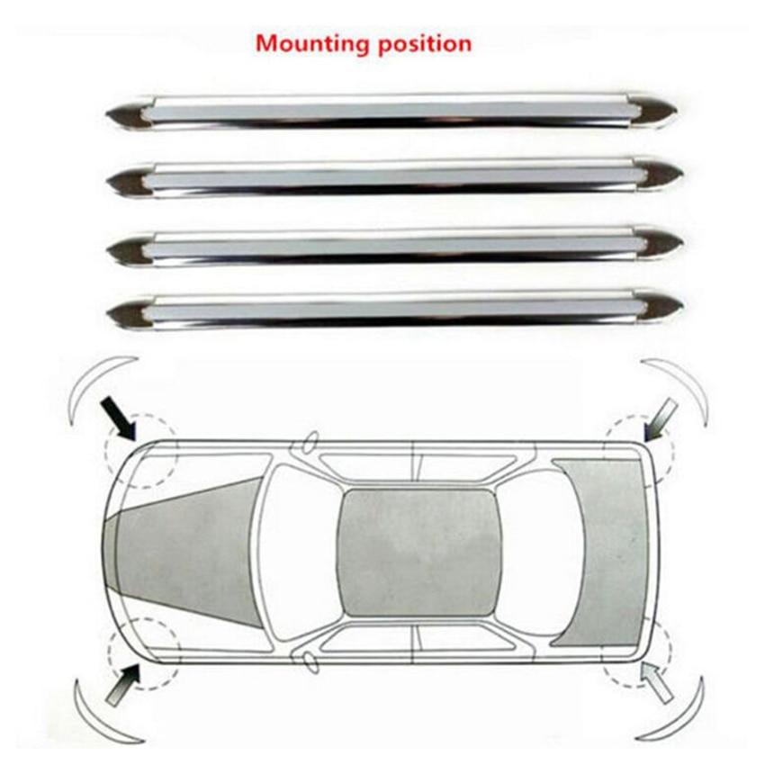 4x Silver Car Auto Truck Decoration Strip Chrome Bumper Corner Guard Protector