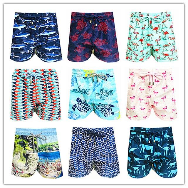 2019 Brand Fashion Vile Men Beach Board Shorts 100% Quick Dry Turtle Bird Pineapple Sardine Man Boardshorts Brequin Swimwear