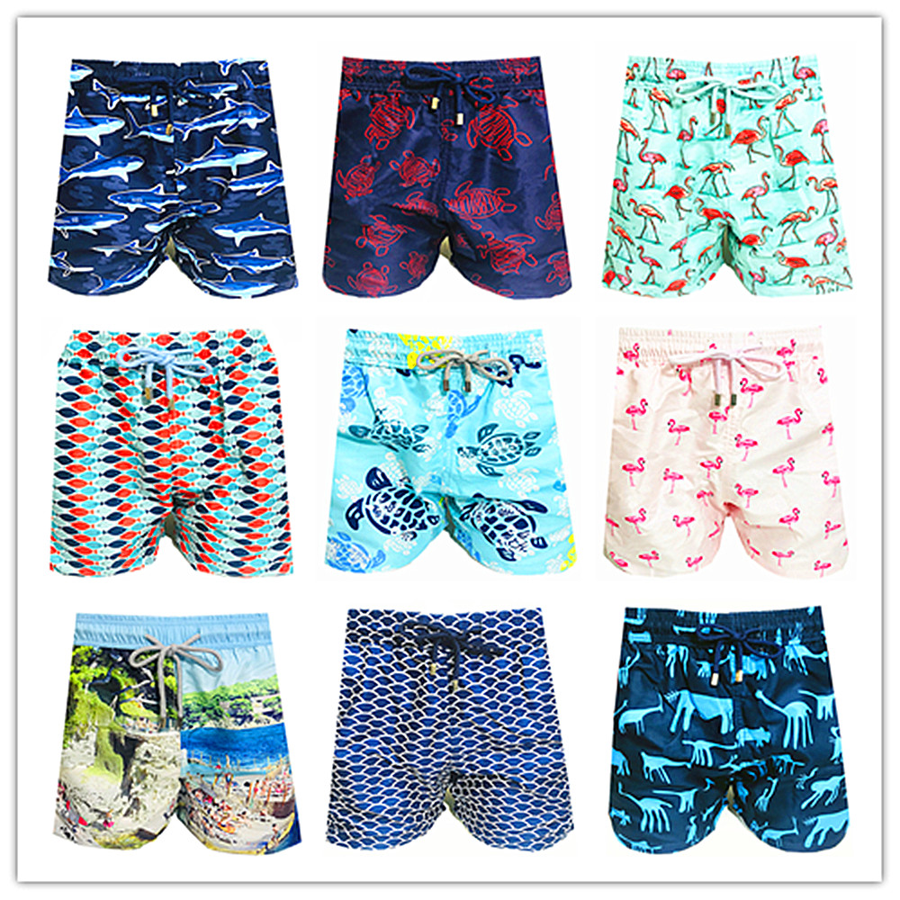 2019 Brand Fashion Vile Men Beach   Board     Shorts   100% Quick Dry Turtle Bird Pineapple Sardine Man Boardshorts Brequin Swimwear