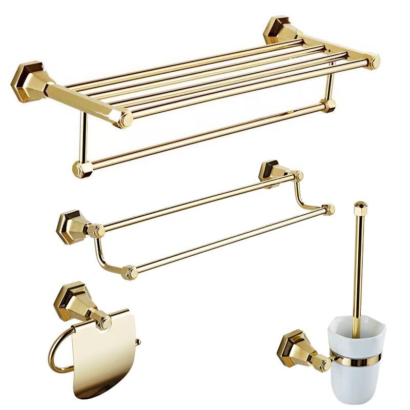 European Style Bathroom Hardware Set Wall Mounted Chrome Finish Towel Rack Set Wall Mounted Bathroom Accessories Set Solid Brass