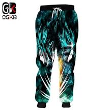 OGKB Dropship Sweat Pants Man Quick Dry Polyester Full Funny Print Super Saiyan Goku And Vegeta 3d Sweatpants Jogger Harem