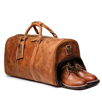 Crazy Horse Genuine Leather Travel Bag Men Vintage Travel Duffel bag big Cow Leather Carry On Travel Bag Hand Luggage Duffle Bag - DISCOUNT ITEM  15 OFF Luggage & Bags