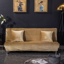 European Pure color plush Sofa bed cover Folding armless velvet sofa High-elastic all-inclusive cushion mat