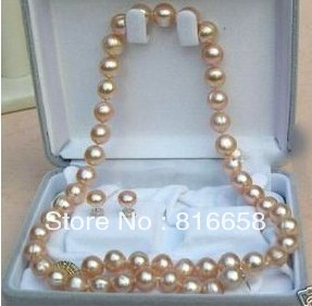 """Free shipping@@7-8mm Rare pink purple salt water Pearl Necklace Earring Set 18"""""""
