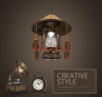 Vintage nostalgic lantern kerosene lamp pendant light bar entranceway lamp E27 lamp base antique brown color