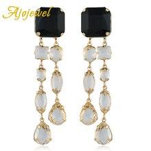 Ajojewel Black White Stone Geometric Tassel Earings Statement Hanging Drop Long Earrings Women Jewelry Bijoux цена в Москве и Питере