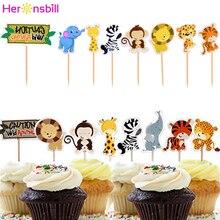 24 sztuk impreza w stylu Safari zwierząt Cupcake Topper dzieci wszystkiego najlepszego z okazji urodzin dżungli dekoracje świąteczne dla dzieci dla dzieci chłopiec dziewczyna Baby shower dostaw