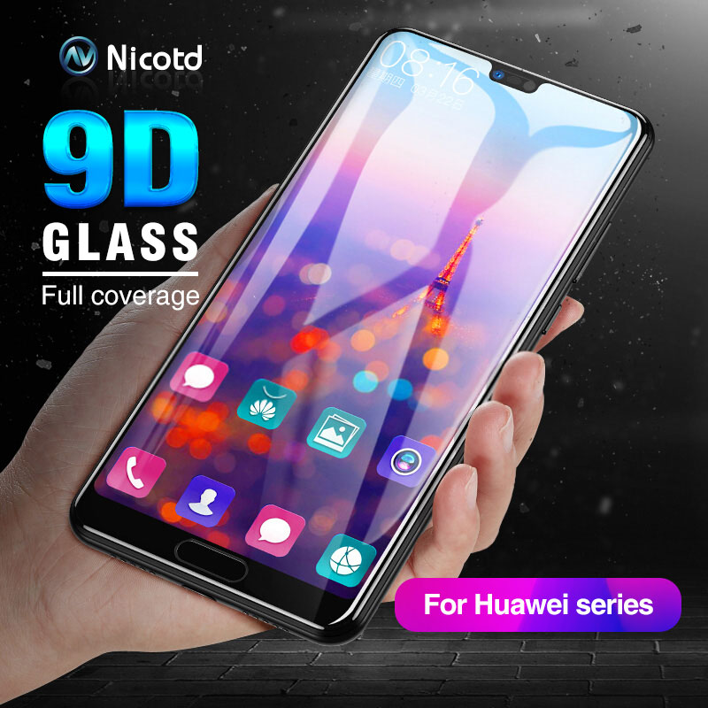 Nicotd 9D For Huawei Honor 8C Tempered Glass Film For Honor 10 8X Full Cover Screen Protector For Huawei Y9 2019 P20 Lite Pro