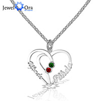 Unique Heart Lovers Gift Personalized 925 Sterling Silver Birthstone Name Necklace Christmas Gift With Box (JewelOra NE101571)