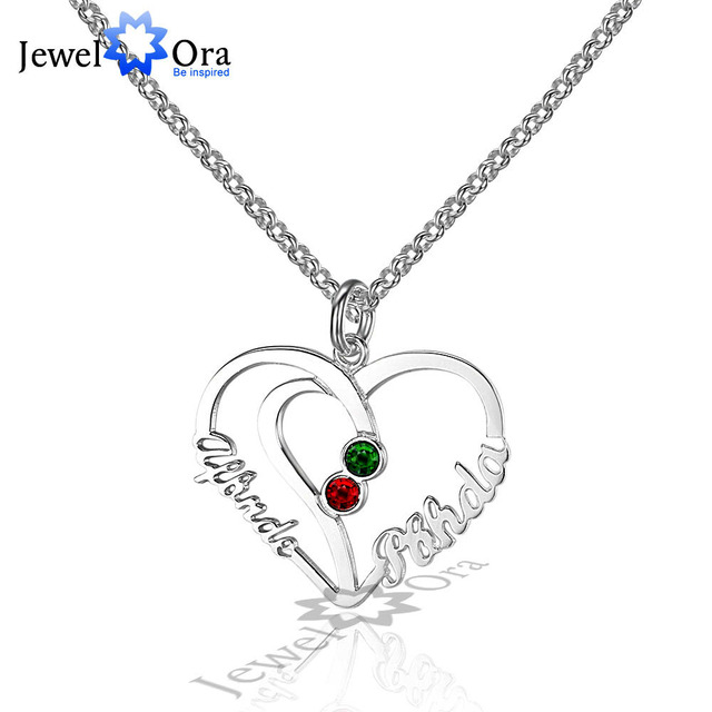 211f9d543edcdb Unique Heart Lovers Gift Personalized 925 Sterling Silver Birthstone Name  Necklace Christmas Gift With Box (JewelOra NE101571)