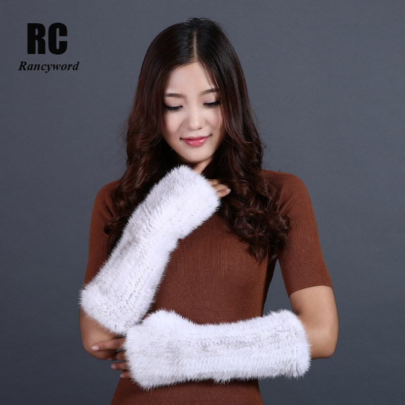 [Rancyword] Winter Warm Gloves For Women Natural Mink Fur Gloves Female Knitted Real Fur Gloves Fingerless Thick 2017 New RC1330