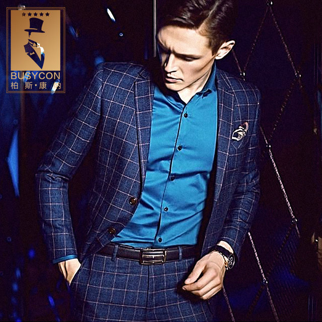 Online Shop Cajerin Vintage Royal Blue Mens Plaid Suits Wedding ...