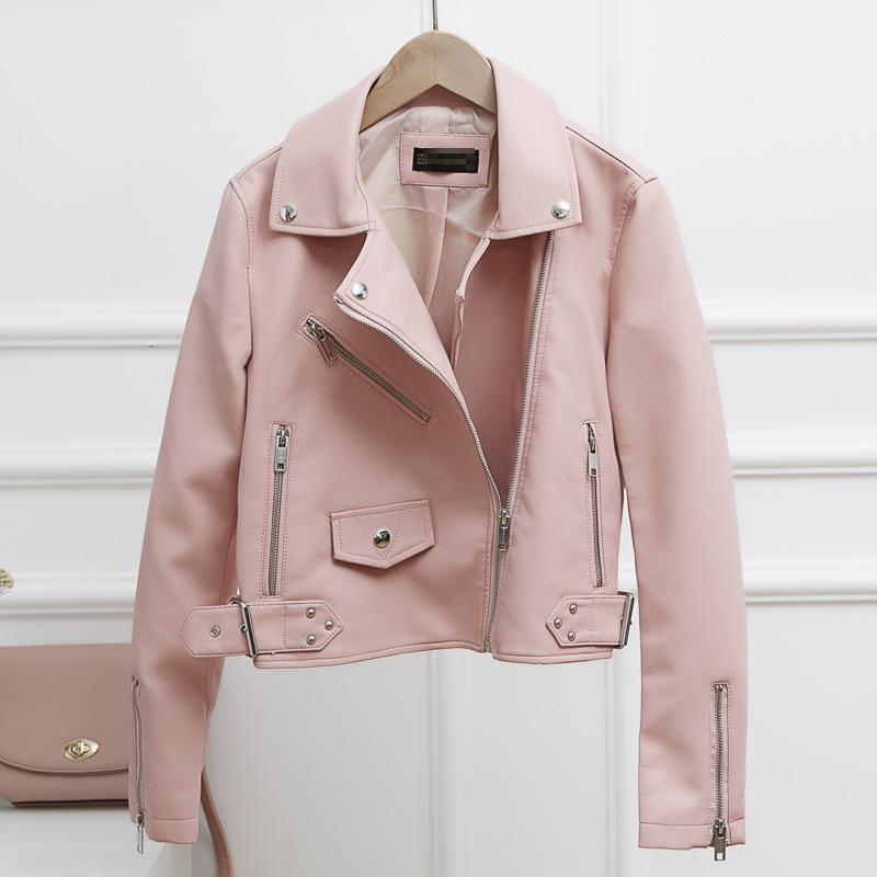 Spring Autumn Motorcycle Jacket Women 2019 New Slim Tum Down Collar Casual Zipper Short Pu   Leather   Coat Short Moto Jackets