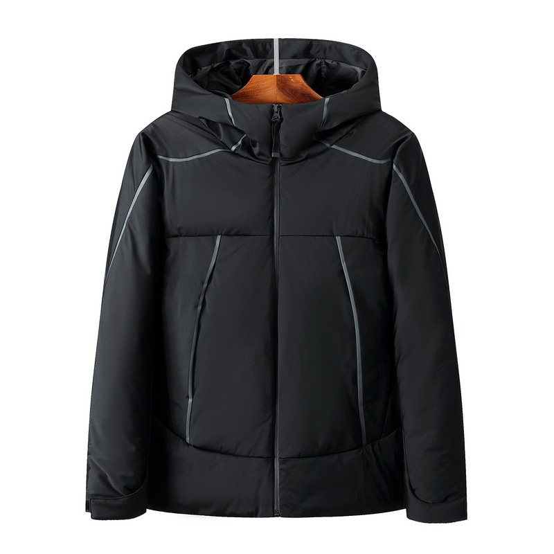 Men Winter   down   jacket Male   Down     Coat   Outdoor new men's clothing stripes thicken solid hooded Overcoat 2019 Autumn New