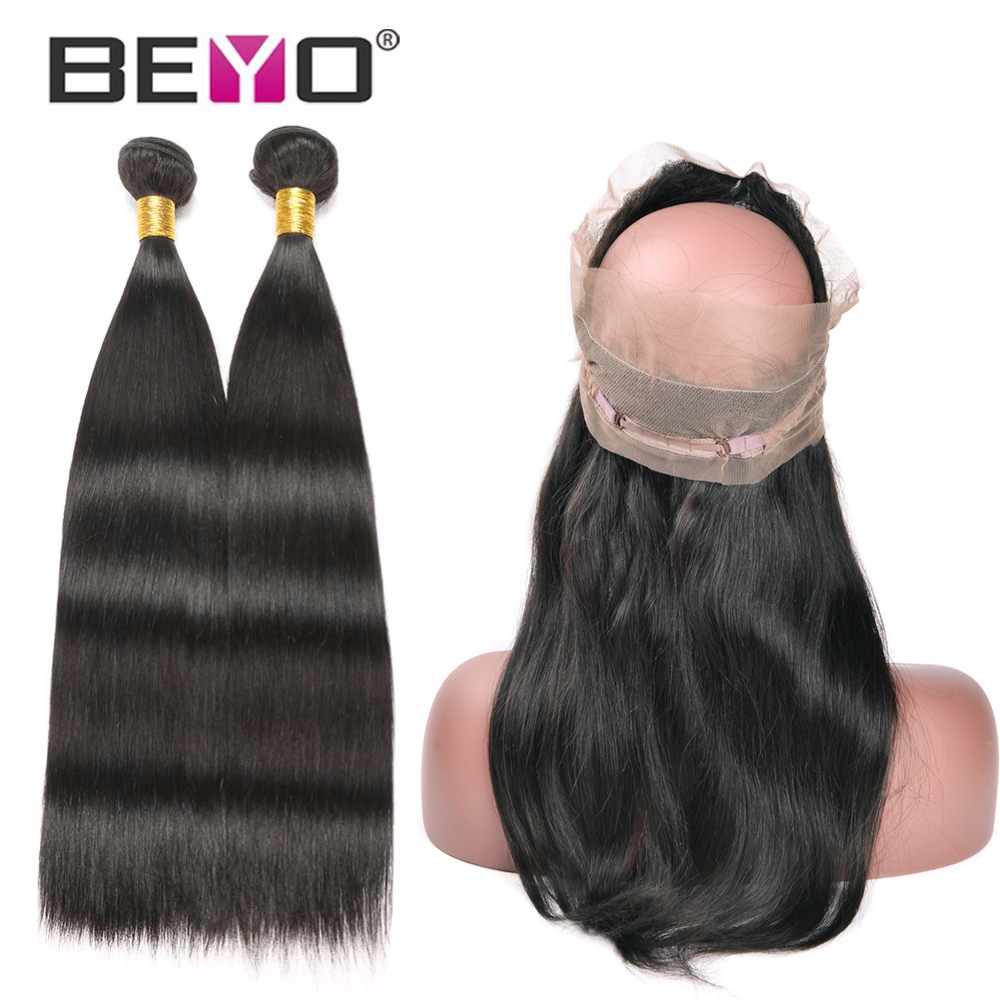 Beyo Brazilian Straight Hair 360 Lace Frontal Closure With Bundles 2 Human Hair Bundles With Closure Non-Remy Hair Extension 3PC