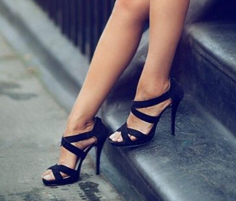 73fe23f3b5374 Fashion pure black suede strappy sandals wide strap crisscross stiletto  heel dress shoes solid color cut-outs high heel sandals