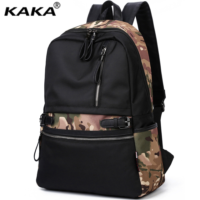Brand KAKA Korean Style Fashion Men and Women Backpacks Waterproof Nylon School 14″ Laptop Backpacks for Teenage Girls Black bag