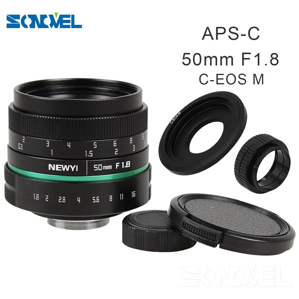 Camera lens 50mm f1.8 APS-C Multi-coated CCTV TV Movie Lens+C Mount for Canon EOS M M2 M3 M5 M6 M10 EOS M100 Mirrorless Camera 35mm f 1 6 c mount lens for aps c sensor sony e nex 7 nex6 nex5t 5r 3 a5100 a6000 a5000 a3000 a6300 a6500