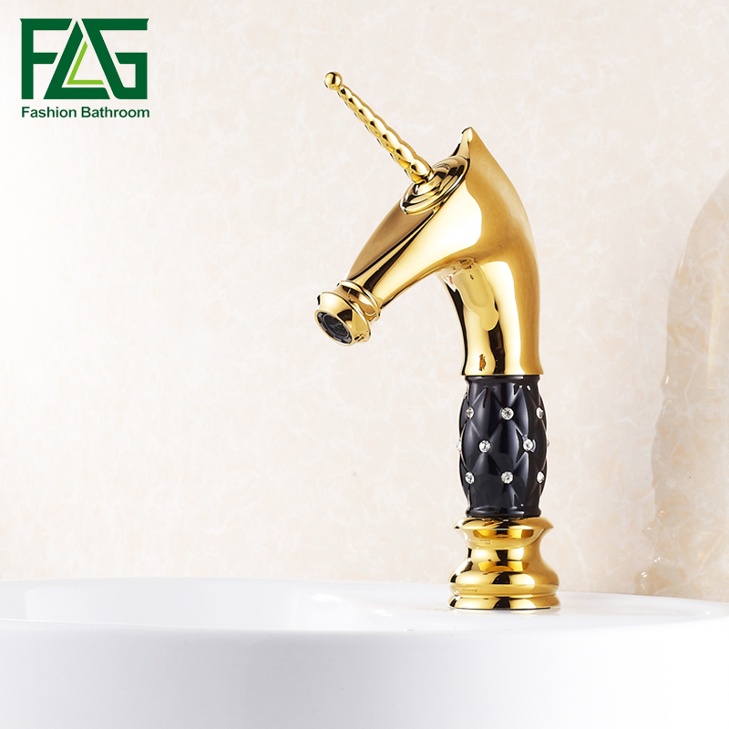 Free Shipping New Horse Head Style Bathroom Basin Faucet Black Ceramic Diamond Sink Tap Single Handle Mixer Tap