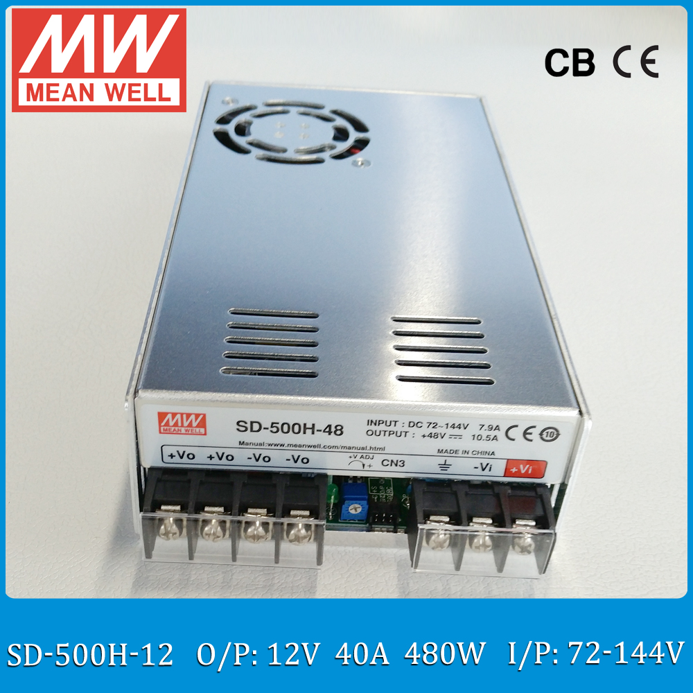 Original Mean Well Sd 500h 12 12v Isolated Converter Input 72144vdc Low Profile Power Converters To 500w 40a Meanwell Dc Wide 21 In Switching Supply From