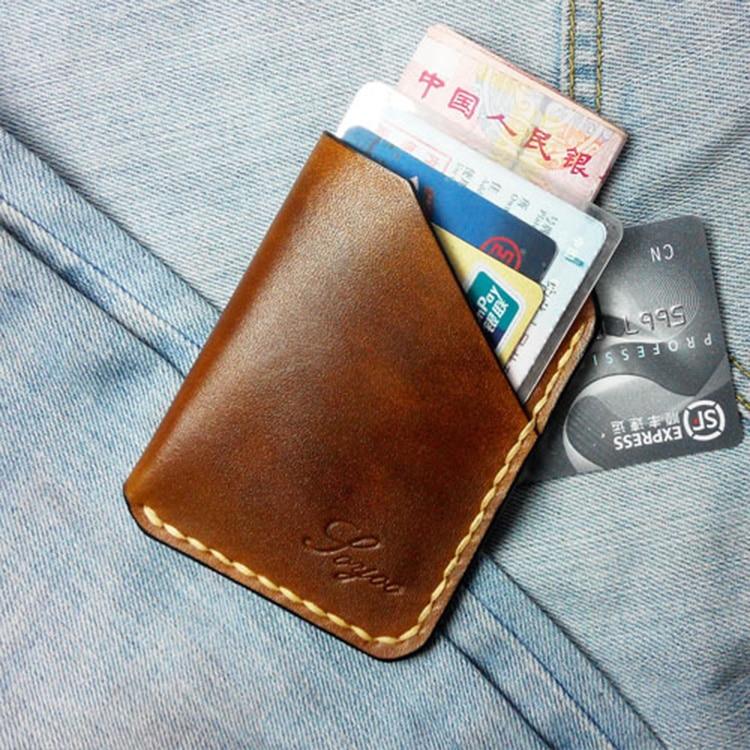 Purely Handmade Vegetable Tanned Leather Handmade Minimalist Wallet Mens Genuine Leather Men Wallet Slim Mini Card Thin