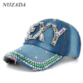 Brands NUZADA Women Girls Ladies Baseball Cap Snapback Bone Rhinestones Hip Hop Hats Caps Denim Mosaic Glass Cotton szm-024