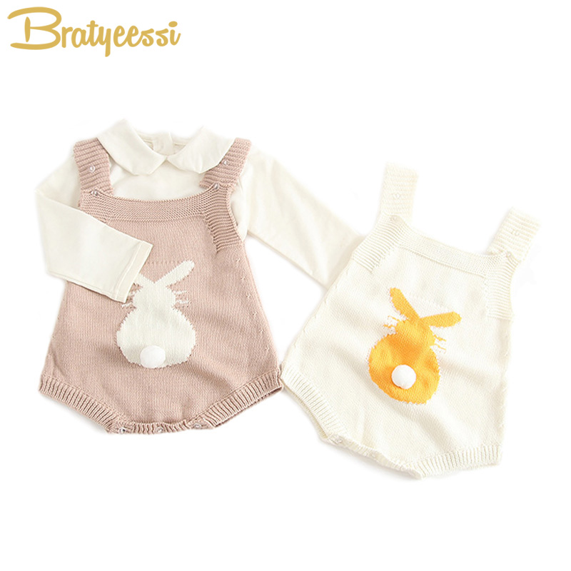Cute Bunny Baby Rompers for Girls Knit Overalls Autumn Spring Infant Jumpsuit Baby Girl Clothes 1 PC spring autumn baby cotton knit rompers baby girl long sleeve knitted overalls infant girl floral embriodery bebes infant clothes