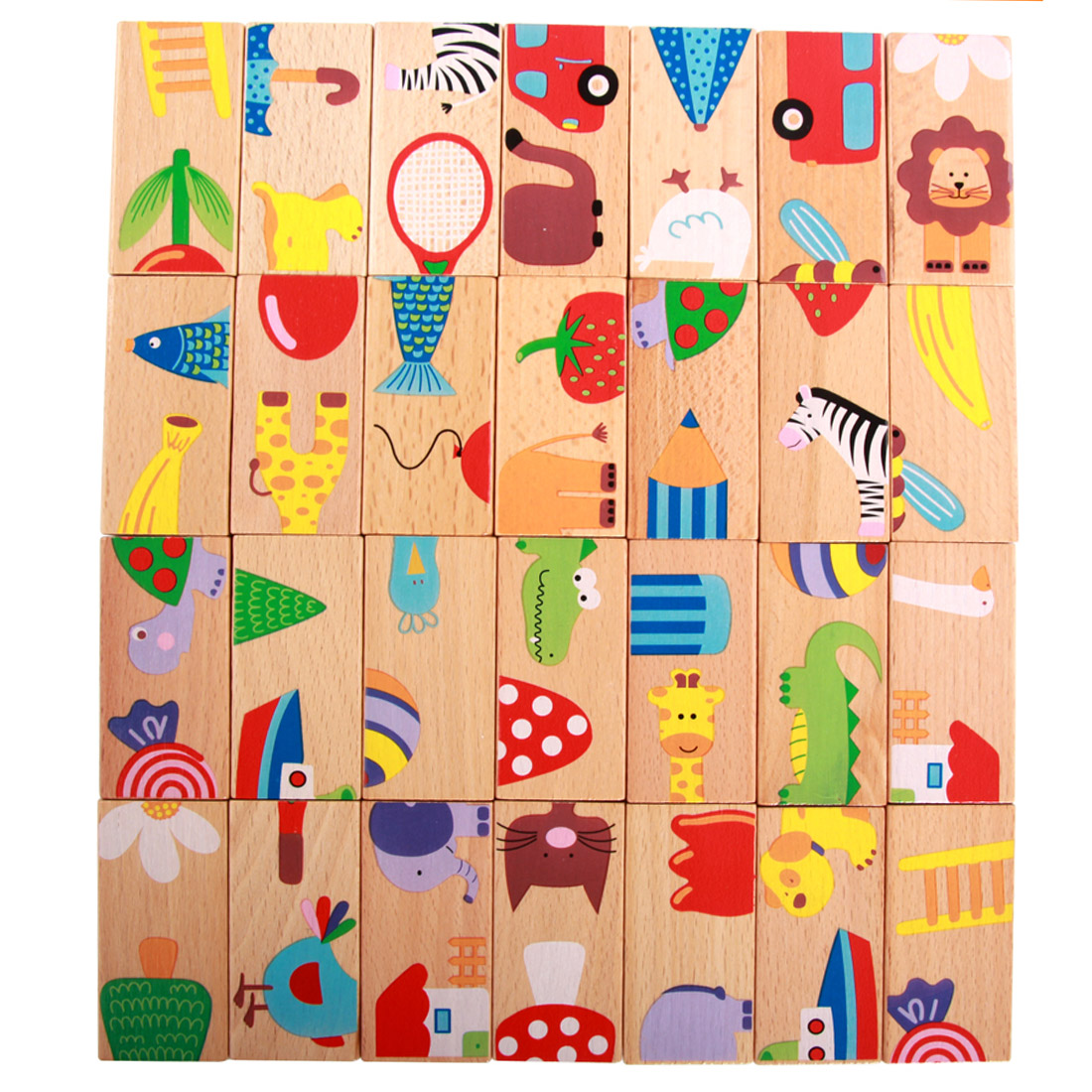 28Pcs Animal Puzzle Wooden Domino Blocks Set Board Game for Kids Play Intelligence Blocks Education Toy