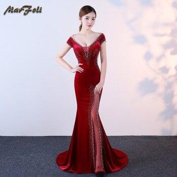 b8a7d0d71 Marfoli Sexy sirena vestido de noche 2018 piso-longitud sin respaldo Formal  de terciopelo de cristal de baile vestidos fiesta elegante