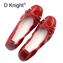 Swwet Bow Designer Flats Shoes Women Luxury 2018 Genuine Patent Leather Ladies Ballerina Silp On Moccasins Red