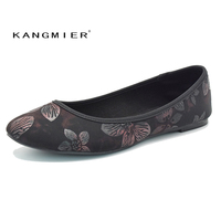 KANGMIER Shoes Women Lycra Ballerina Flats With Flowers Round Toe