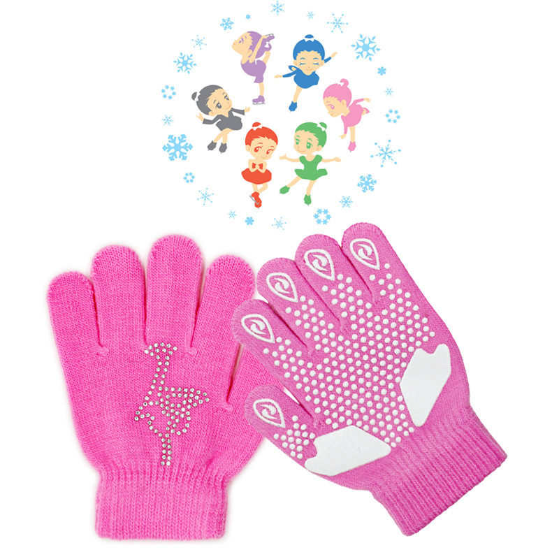 Magic Figure Skating Wrist Gloves Training Warm Hand Protector Thermal Thicken Safety For Kids Adult Rhinestone Glue Non-slip