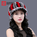 Rex Rabbit Hair Fur Winter Fashion Hat For Women Autumn Elastic Millinery Female Thickening Beanie Thermal Yarn Knitted Cap