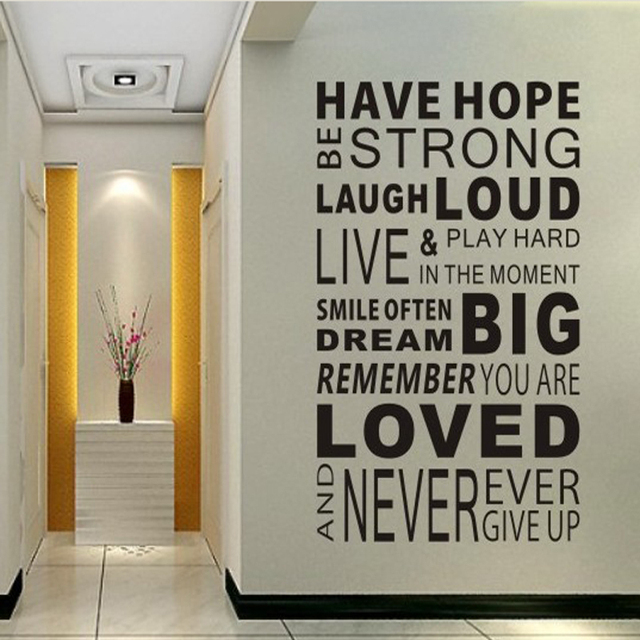 Free Shipping Have Hope Sticker Family Rules Home Decor Quotes