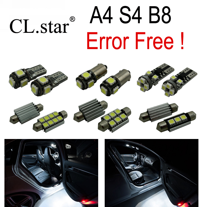 13pcs bulb for Audi A4 B8 S4 Quattro LED Interior Light Kit + front dome lamp + Rear map lights + vanity mirror + trunk (09-15) new arrival 20pcs 29mm 3smd led lamp bulb white sun visor vanity mirror light for car interior lights