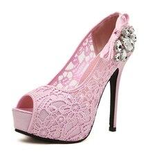 2สีสีชมพูสีเบจผู้หญิงลูกไม้ดอกไม้ปั๊มแพลตฟอร์มผู้หญิงเซ็กซี่รองเท้าส้นสูงรองเท้าส้นเข็มพรรคR Hinestoneรองเท้าแต่งงาน