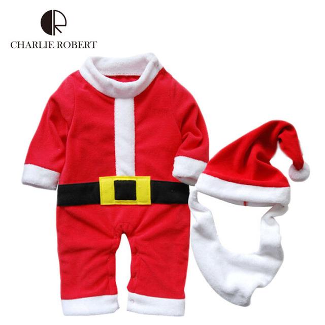 Papai noel bebê roupa do bebê do traje de natal Bodysuit recém-nascido crianças Pajama Infantil roupas de inverno macacão Snowsuit HK967