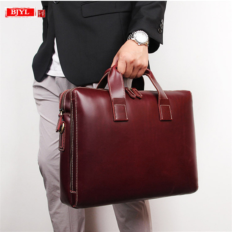 2019 Business Men Briefcase 15.6 Inch Computer Bag Genuine Leather Male Handbags Large Capacity Shoulder Bags Travel Briefcases