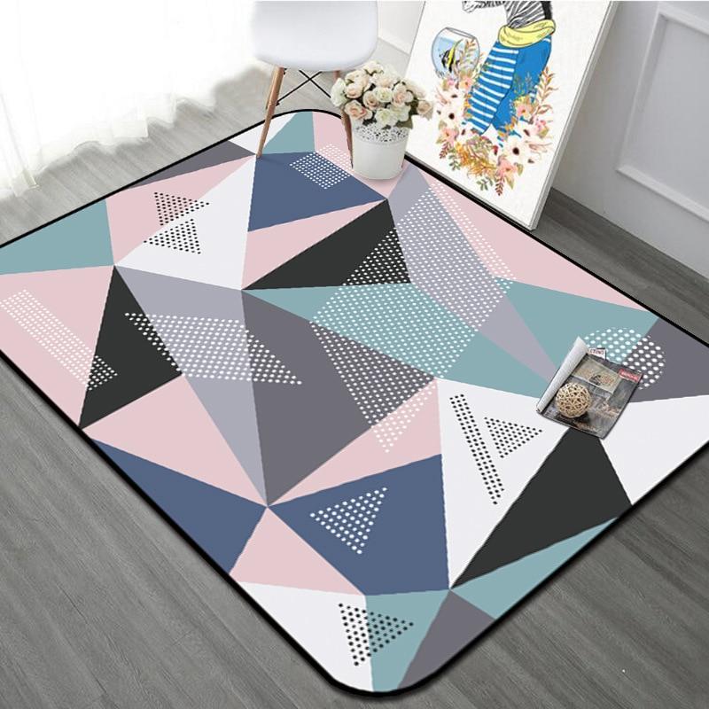 Tapis géométrique coloré maison décoratif Style moderne salon tapis tapis anti-dérapant épaissir Rectangle chambre lit côté Floormat