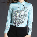 Hot Sale Winter Autumn Spring Printing Flowers  Pattern Women Long Sleeved  Elegant Blouse T6N4112Y