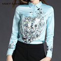 Venda quente Outono Inverno Primavera Flores Padrão de Impressão Das Mulheres de Manga Comprida Blusa Elegante T6N4112Y